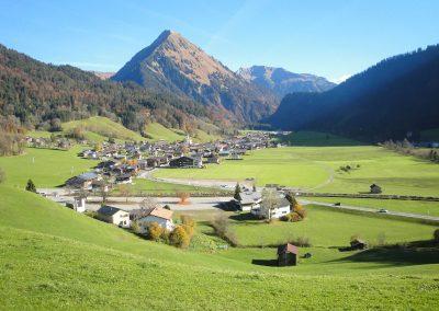 Fernblick-Schoppernau-Dorf-Sommer
